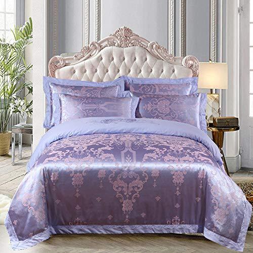 N / A Four-piece cotton satin jacquard wedding room duvet cover bed sheet pillowcase double king-Quilt_cover:_220cm×240cm(4pcs)_2