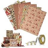 Wodasi 6 Feuilles Papier Cadeau Rétro Emballage de Papier de Noël Kraft Anniversaires Mariages Papier d'emballage pour Les Cadeaux et 2 Rouleau de Ruban, Papier Cadeau Noël Enfant 50x70cm