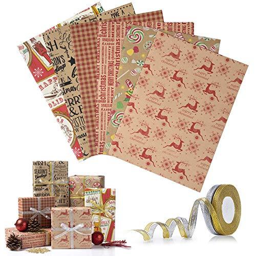 Wodasi Geschenkpapier für Weihnachten, Weihnachtspapier Geschenkpapier Weihnachts, 6 Stücke Kraftpapier Geschenkpapier Weihnachten und 2 Rolle Band, Geschenkverpackung, 70 x 50cm