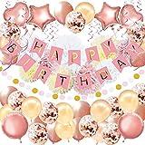 92Pcs Geburtstagsdeko, Geburtstag Dekoration, Happy Birthday Girlande, Geburtstag Party Dekorationen Set für Mädchen und Frauen,Einschließlich'ALLES GUTE ZUM GEBURTSTAG' Banne