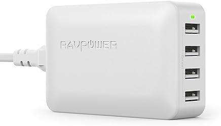 RAVPower Chargeur USB Secteur Universel 4 Ports USB (Sortie 40W/8A 5V, Technologie iSmart, 110-240V) Adapteur Secteur USB Chargeur de Bureau Compatible avec iPhone XS / XS Max / XR / 8- Blanc