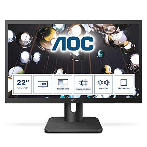 AOC Essential-line 22E1D pantalla para PC 54,6 cm (21.5') Full HD LED Plana Mate Negro - Monitor (54,6 cm (21.5'), 1920 x 1080 Pixeles, Full HD, LED, 2 ms,...