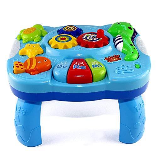 bouncevi Juguetes Mesa De Aprendizaje Criaturas Acuáticas Centro De Actividades De Música Mesa De Juego Música Giratoria De 360 Grados para Niños Pequeños Early Development
