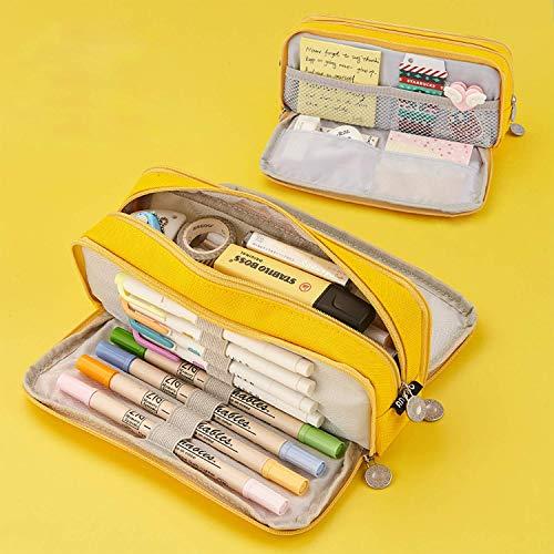 Trousse à Crayons Grande Capacité, Trousse à Crayons 3 Compartiments, Trousse de Rangement pour Stylos, Trousse de Bureau Portable, Trousse à Cosmétiques Avec 3 Fermetures Éclair, 21x5x9cm (Jaune)