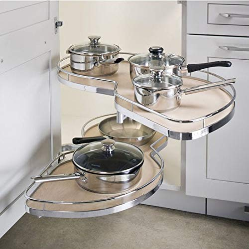 Kitchen Inventions Lemans II Set 2-Shelf Lazy Susan with Soft-Close for Blind Base Corner Cabinets (884 sq. Model 50, Tray Size: 18 , Swings Right)