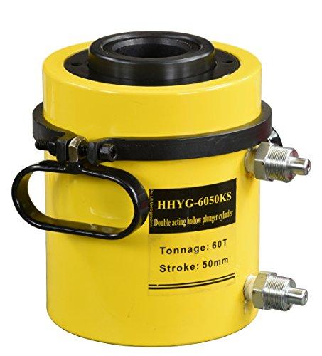 Pro-Lift-Gereedschappen 60 t holle kolf hydraulische cilinder dubbelwerkende zuiger 50 mm hydraulische pomp werkcilinder 60000 kg drukkracht heavy-duty 60 t