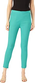 Rapsodia Stretchable Cotton Blend Trouser Pants for Women (Turquoise)