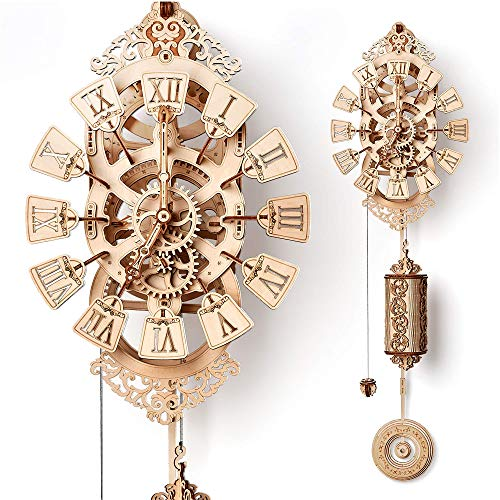 Wood Trick Pendulum Wall Clock Kit to Build, Wooden DIY Wall Clock Big - No Batteries - 3D Wooden Puzzle - 3D Wall Clock Mechanical Model