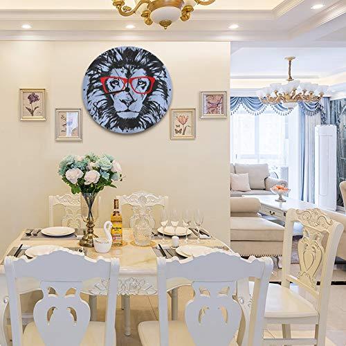 Reloj de Pared diseño Moderno de 30 cm, Animal Grunge Retrato de león con gafas Hipster Humor nerd Comic King Ilustración,Reloj de Pared silencioso Digital , Utilizado en la Sala de Estar la Cocina