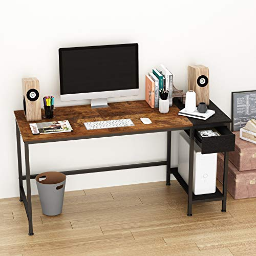 JOISCOPE Scrivania per Computer, Tavolo con Due Cassetti, Ripiani, Tavolo da Studio, 60 Pollici (Finitura della Quercia Vintage)