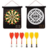 2-in-1 Magnetic Baseball Dart Board Game Set with 6 Safety Darts for Kids & Adults (Baseball & Dart Games)