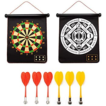2-in-1 Magnetic Baseball Dart Board Game Set with 6 Safety Darts for Kids & Adults  Baseball & Dart Games