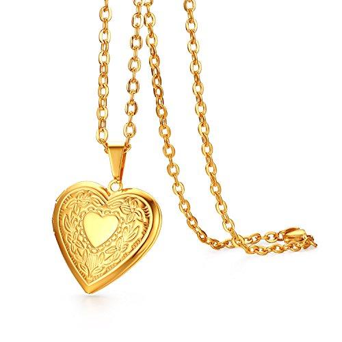JewelryWe Schmuck Edelstahl Foto Medaillon zum Öffnen Photo Bilder Amulett Gold Retro geschnitzt Blumen Muster Herzanhänger Halskette Kette mit Anhänger für Damen Mädchen - Kostenlose Gravur