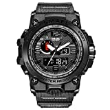 eYotto Waterproof Sports Watches for Men, Anolog Digital Watches Dual-Display Wrist Watch with Luminous Stopwatch Week 12/24H Time Alarm Clock (Black)