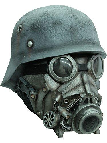 Soldat mit Helm Brille und Gasmaske Vollmaske Kostümaccessoire grautöne