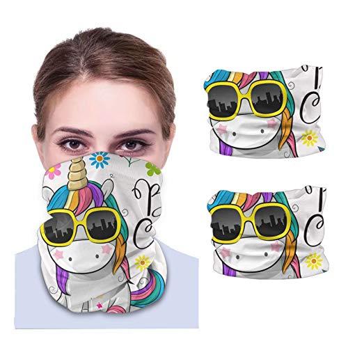 ZVEZVI Unicornio de dibujos animados lindo con gafas de sol Cuello unisex Polaina Tela lavable Pasamontañas reutilizables Protección UV Cubierta facial para viajar Caminar 2PCS
