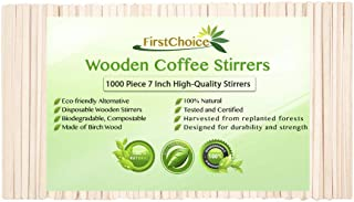 Disposable Wooden Coffee Stirrers - 7 Inch Length Round Corners Eco Friendly Biodegradable Compostable Wooden Coffee Stirrers By First Choice (1000 Stirrers)