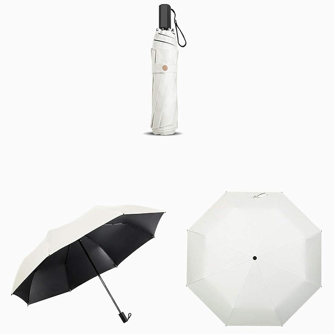 柱中止します子猫LKJASDHL 折りたたみ日傘女性の屋外の紫外線保護日焼け止めパラソルポータブルコンパクト旅行傘スポーツ傘防風傘 (色 : ホワイト)