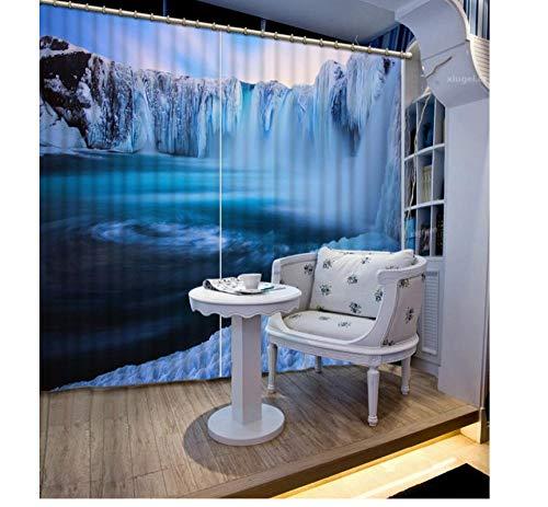 Aymsm Cortinas Gruesas Simples Modernas para Sala de Estar Dormitorio 3D, Cortinas 3D Cascada decoración de Roca Ventana Opaca 3D