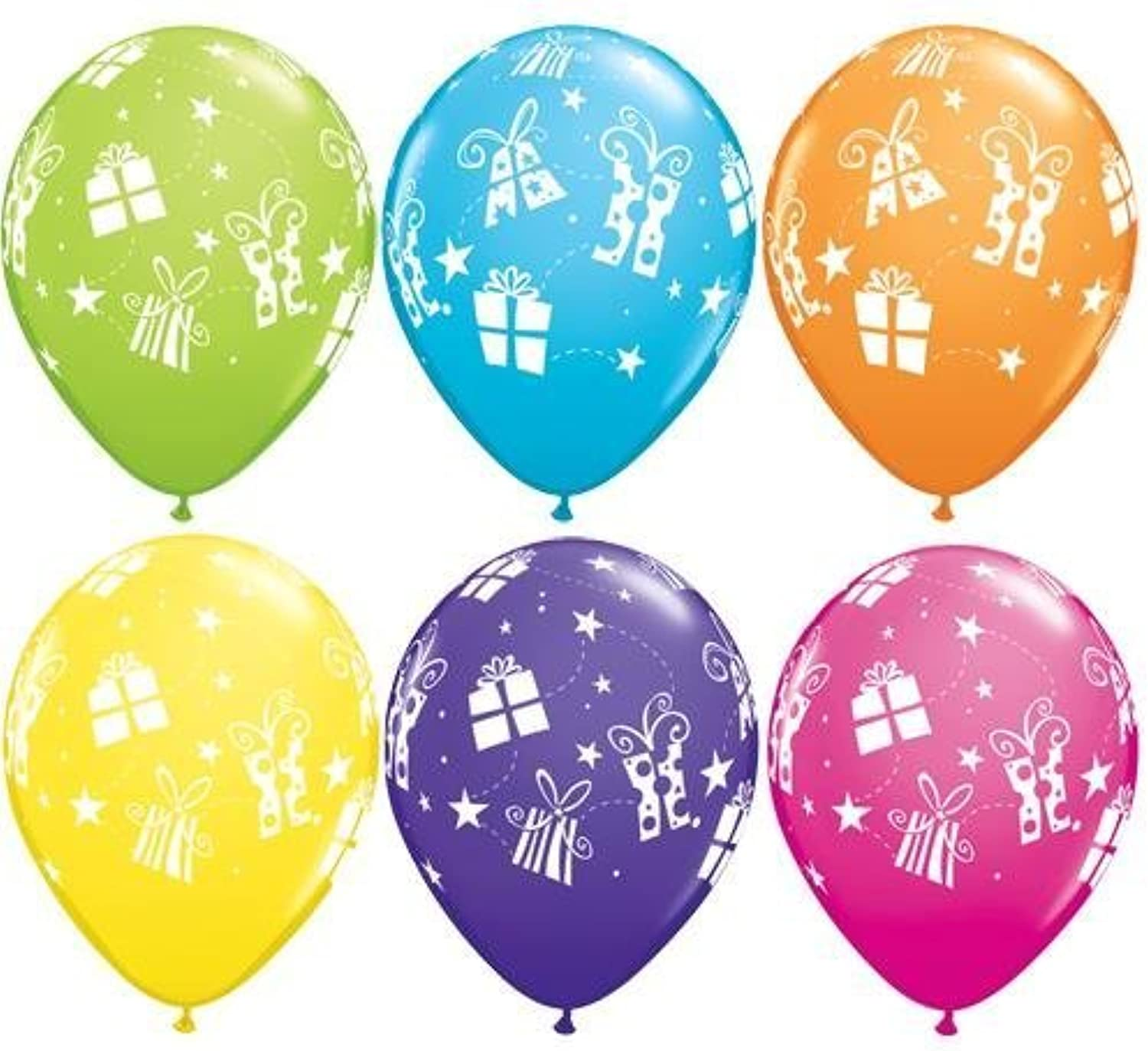 Christmas Presents & Stars Tropical Assorted 11 Inch Qualatex Latex Balloons x 5 by Qualatex