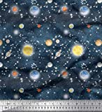 Soimoi Blau Baumwolle Batist Stoff Planet & Sonne Galaxis