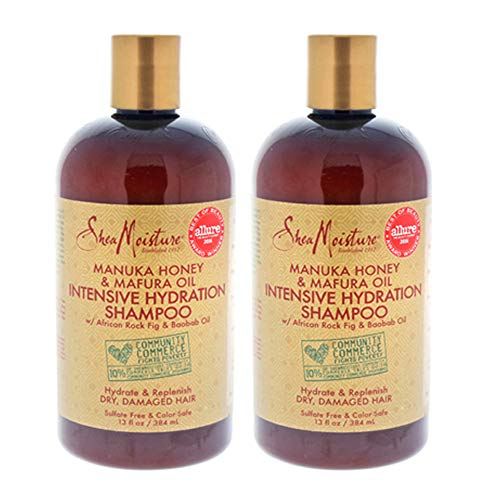 ( Pack of 2 ) Shea Moisture Manuka Honey & Mafura Oil Intensive Hydration Shampoo with African Rock Fig & Baobab Oil 13 oz