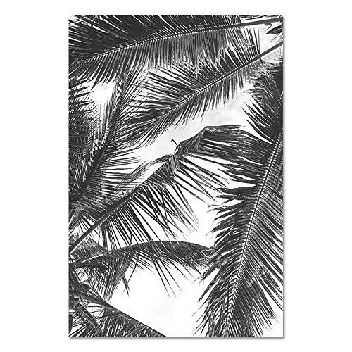 U/N Lienzo de Hojas de Palmera Blanca y Negra, Pintura de Plantas nórdicas, póster de Arte de Pared de piña e impresión, decoración Minimalista para Sala de Estar-7