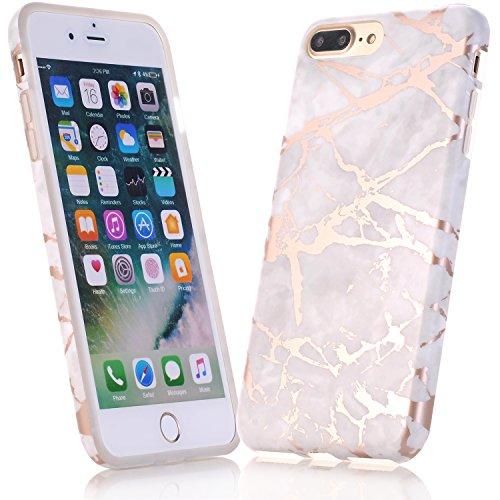 JIAXIUFEN iPhone 5 Funda, Funda de Silicona Suave Case Cover Protección Cáscara Soft Gel TPU Carcasa Funda para Apple iPhone 5 5S SE - Shiny Rose Gold Gray Mármol Diseño