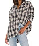 JLCNCUE Women's Classic Long Sleeve Shirt Street Fashion Flannel Plaid Shirt Oversized Tops Blouses 71903 (M, Nude Plaid)