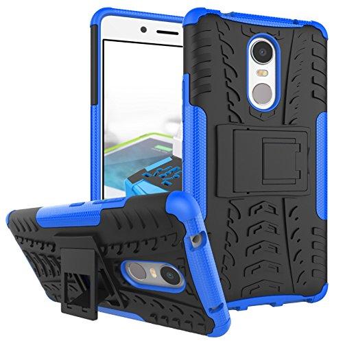 TiHen Handyhülle für Lenovo K6 Note Hülle, 360 Grad Ganzkörper Schutzhülle + Panzerglas Schutzfolie 2 Stück Stoßfest zhülle Handys Tasche Bumper Hülle Cover Skin mit Ständer -Blau