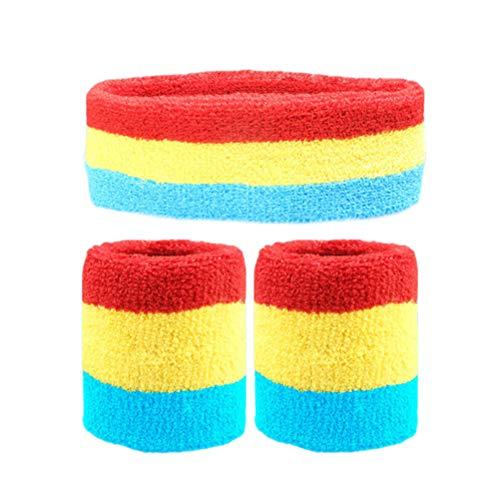 Yooyg 1 banda para la cabeza + 2 pulseras elásticas antideslizantes para el sudor, para deportes, correr, fútbol, tenis, etc