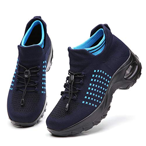 Ezkrwxn Walking Shoes for Women Casual Shoes Fashion Comfort Slip on Sock Athletic Tennis Sport Running Jogging Shoes Navy Blue Size 7