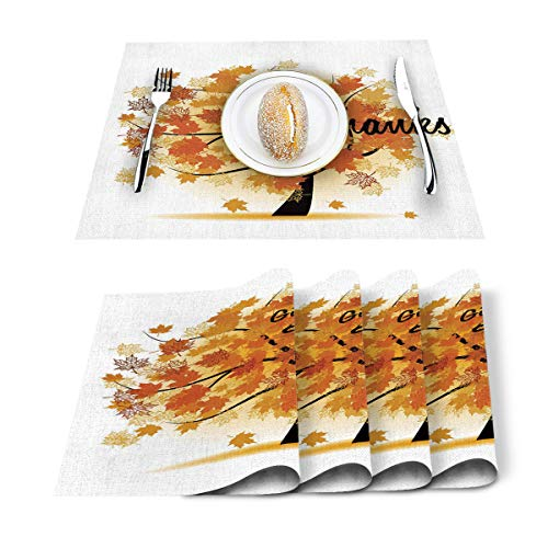 Placemats for Dining Table Set of 6 Heat Insulation Stain Resistant Kitchen Place Mat, Give Thanks Fall Season Yellow Maple Tree Indoor & Outdoor Table Decor for Fall,Party,BBQS,Christmas, Everyday