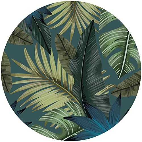Deco&Fun - Alfombra Vinílica Redonda Tropical Azul 160x160cm - Alfombra PVC Alfombra vinílica Cocina- Alfombra vinílica salón - Alfombras de Vinilo- Alfombra Redonda