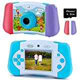PROGRACE Kids Camera 12M Dual Lens Camcorder Toddler Boys Toy Birthday Gifts for 3 4 5 6 7 8 9 10 11 Years Old Children Selfie Camera with Music Game Kids Digital Video Camera