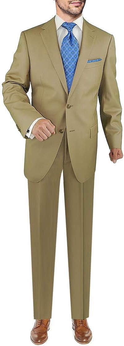 DTI Men's Two Button Business Suit Nano Luxury Stretch 100% Wool 2 Piece Beige