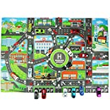ELECTROPRIME Kids Play Mat City Road Buildings Parking Map Game Scene Map Educational