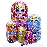 zdz Conjunto de espesos de 10 Matryoshka, Juguete para niños de Madera Hechos a Mano 8 Pulgadas de muñecas de anidación Rusa, Regalos de cumpleaños, decoración del hogar (Color : Red)