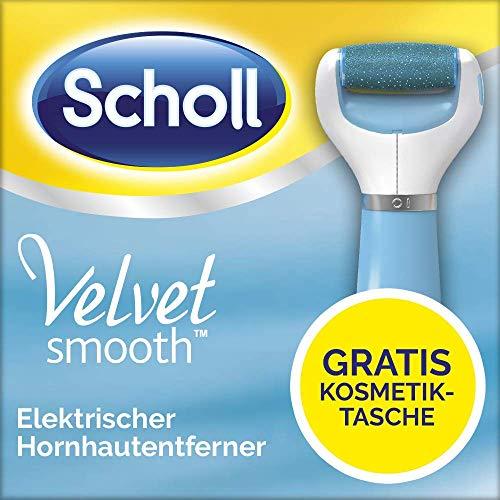 Scholl Velvet Smooth Express Pedi elektrischer Hornhautentferner mit Diamantpartikeln, blau, mit Kosmetiktasche gratis