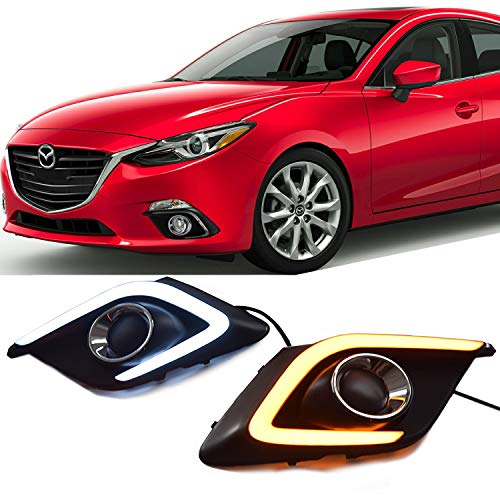Win Power Waterproof Daytime Running Light DRL Fog Lamp Kit for 2014 2015 2016 Mazda 3 Axela Error Free Canbus with Yellow Turn Signal 1 Year Warranty