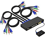 CKLau 4Kx2K Ultra HD 4 Port HDMI Cables KVM Switch Control 4 Computers/DVR/NVR with USB 2.0 Hub and Audio Support Keyboard Mouse Switching for Linux, Windows, Mac, Unix