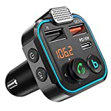 Bluetooth FM Transmitter for Car QC3.0-Type C PD,Bluetooth Car Adapter MP3 Music Player,Wireless Radio Audio Receiver,Fast Charging Car Charger Hands Free Car Kit with Deep Bass and Voice Assistant