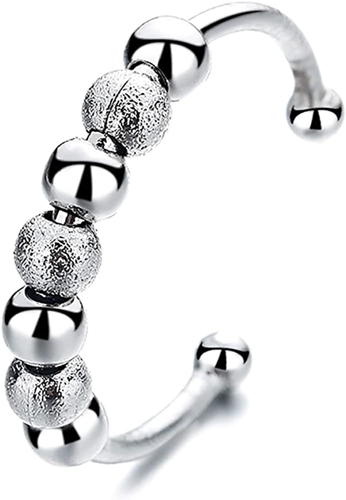 Spinning Ball Bead Open Band Ring for Women Girls Fidget Beaded Anti Anxiety Statement Expandable Adjustable Finger Rings Comfort Fit Fashion Simple Birthday Unique Jewelry Gift for Friend
