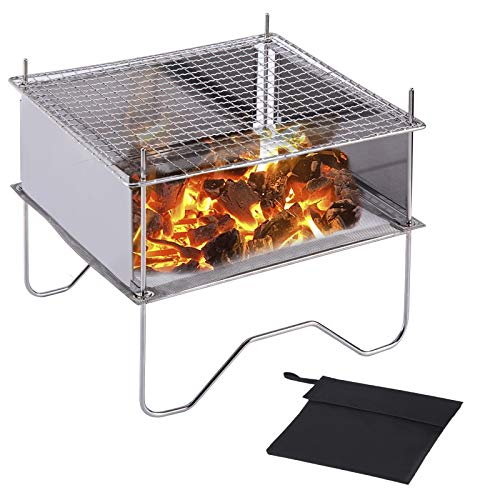 SUCHDECO Outdoor folding Fire Pit grill, Portable barbecue grille, Mini grill for Heating/BBQ, Stainless steel mesh grill for Camping Campfire Cooking Hiking Traveling,9.5 Inch