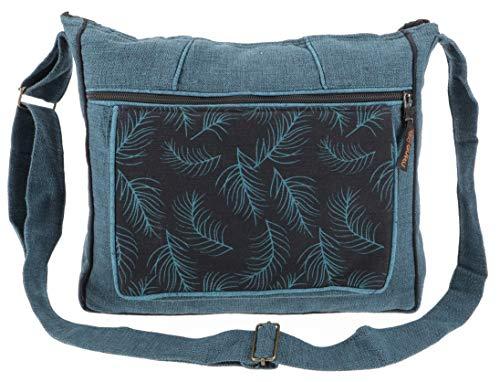 GURU SHOP Ethno Schultertasche, BohoTasche Feder, Nepal Tasche - Petrol, Herren/Damen, Blau, Baumwolle, Size:One Size, 30x33x5 cm, Alternative Umhängetasche, Handtasche aus Stoff