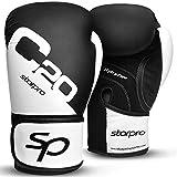 Starpro C20 Single Shell Guantes de Boxeo | Cuero de PU | Blanco y Negro | para Entrenamiento y Sparring en Muay Thai Kickboxing Fitness and Boxercise | Hombres y Mujeres | 8oz 10oz 12oz 14oz 16oz