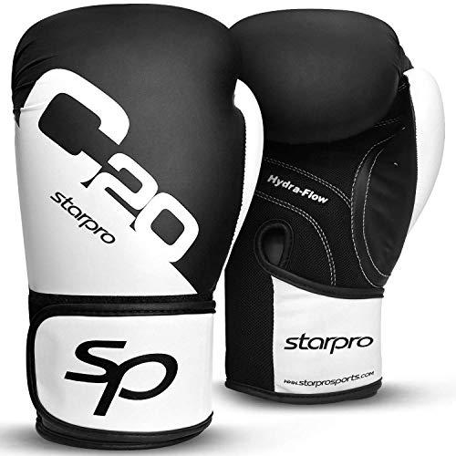 Starpro C20 EINSTÜCKIGE Boxhandschuhe | PU Leder | Schwarz & Weiß | Für Training und Sparring in Muay Thai Kickboxen Fitness und Boxen | Männer & Frauen | 8oz 10oz 12oz 14oz 16oz