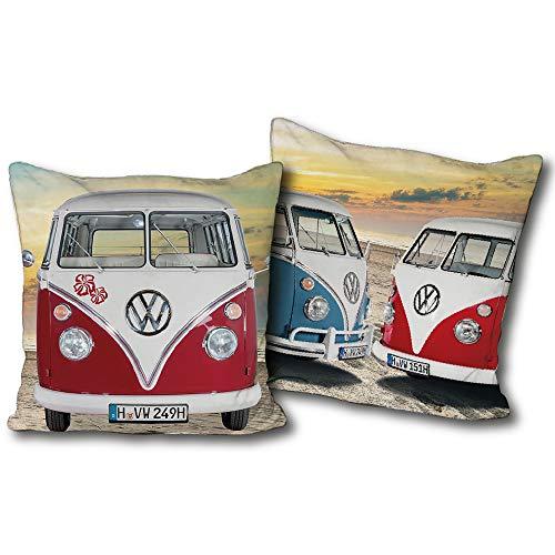VW Volkswagen Kuschel-Kissen Bulli T1 rot blau 40 cm x 40 cm VW Bus Campervan Schmusekissen Kuschelkissen Deko-Kissen Zierkissen Auto-Kissen Reise-Kissen Kopfkissen Polster Retro zur Bettwäsche 085