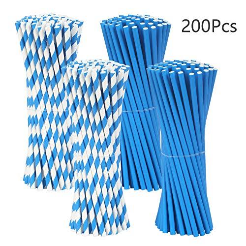 PATAZOK 200stk Blau Papier Strohhalme Papierstrohhalme Einweg Trinkhalme Biologisch Abbaubare Papierhalme Halme für Geburtstag Cocktail Party Feier Dekorationen