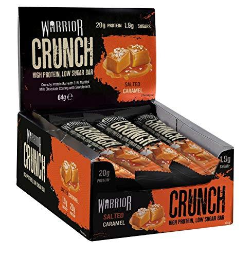 Warrior Crunch Bar Diät Protein Riegel Proteinbar Eiweiß Eiweißriegel Fitness 12x64g (Salted Caramel -Salziges Karamell)
